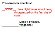 Presemester checklist