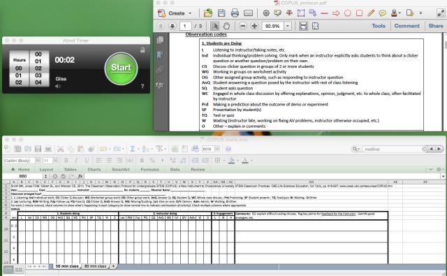 COPUS screenshot